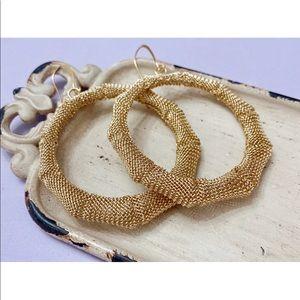 Gold Mesh Vintage Hoop Statement Earrings